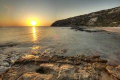 Mooi de zonsopganglandschap van Rhodos Royalty-vrije Stock Foto's