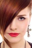 Mooi dicht omhooggaand de stijlportret van de redhairvrouw Stock Foto