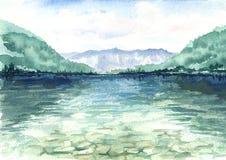 Mooi die landschap met een meer en bergen in het water wordt weerspiegeld Waterverfhand getrokken illustratie vector illustratie