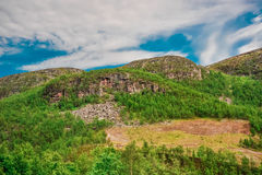 Mooi die landschap van berg met gras van stad van Alta, Noorwegen wordt behandeld royalty-vrije stock foto's