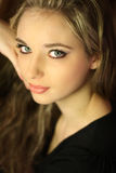 Mooi donkerbruin meisje Stock Foto's