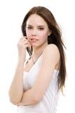 Mooi donkerbruin meisje Royalty-vrije Stock Afbeeldingen