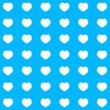 Mooi eenvoudig blauw ontwerp als achtergrond met vele witte harten Royalty-vrije Stock Foto