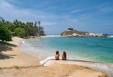 Mooi eenzaam Caraïbisch strand met palmen in het Nationale Park van Tayrona, Colombia stock fotografie