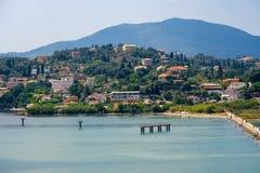 Mooi Eiland Korfu, Paleokastritsa-baai met charmante en prachtige panorama's Kerkyra stock afbeelding