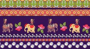 Mooi eindeloos gestreept patroon met leuke beeldverhaaldieren en bloemen royalty-vrije illustratie