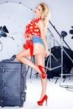 Mooi elegant model in een spruit van de studiofoto Royalty-vrije Stock Fotografie