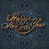 Mooi elegant tekstontwerp van gelukkig nieuw jaar Vector illustratie Stock Fotografie