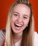 Mooi en gelukkig gezicht met lang haar Stock Fotografie