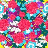 Mooi en kleurrijk tropisch bloemenhand getrokken naadloos patroon Royalty-vrije Stock Foto's
