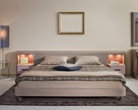 Mooi en modern slaapkamer binnenlands ontwerp. Royalty-vrije Stock Foto