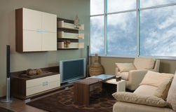 Mooi en modern woonkamer binnenlands ontwerp. Royalty-vrije Stock Foto