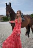Mooi en sexy blonde met grote borsten in een rode kleding en een paard van bruine kostuums Stock Foto's