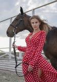 Mooi en sexy blonde met grote borsten in een rode kleding en een paard van bruine kostuums Stock Foto