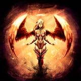 Mooi engelenmeisje in oranje gloed vector illustratie