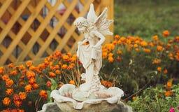 Mooi engelenstandbeeld in de tuin royalty-vrije stock afbeelding
