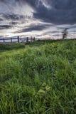 Mooi Engels plattelandslandschap over gebieden bij zonsondergang Royalty-vrije Stock Afbeeldingen
