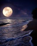 Mooi fantasie tropisch strand met Melkwegster in nachthemel, volle maan Stock Afbeeldingen