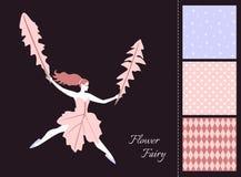 Mooi feemeisje met bladeren Kaart en reeks naadloze patronen in tedere kleuren vector illustratie