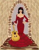 Mooi flamencomeisje met gitaar Stock Afbeeldingen