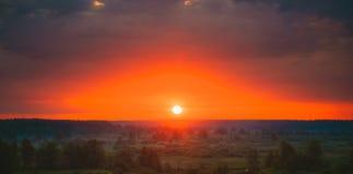 Mooi Forest On Sunrise Dramatische Hemel met Stock Foto's