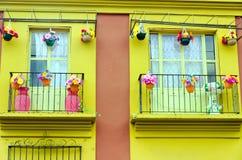 Mooi Geel Huis in Oaxaca stock fotografie