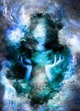 Mooi geheimzinnig meisje op kosmische ruimte en zacht vage waterverfachtergrond stock illustratie