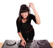 Mooi gelukkig meisje DJ royalty-vrije stock fotografie