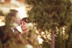 Mooi gelukkig paar in aard Royalty-vrije Stock Foto's