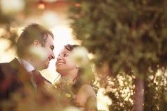 Mooi gelukkig paar in aard Royalty-vrije Stock Afbeeldingen
