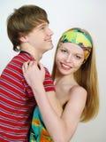 Mooi gelukkig paar van minnaars stock foto
