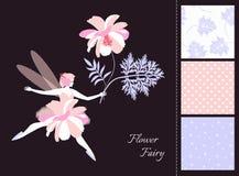 Mooi gevleugeld feemeisje met bloem Kaart en reeks naadloze patronen in tedere kleuren stock illustratie