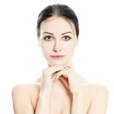 Mooi gezicht Geïsoleerdew de vrouw van het kuuroord Gezonde huid Royalty-vrije Stock Fotografie