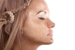 Mooi gezicht van blond aantrekkingskrachtmeisje Stock Afbeeldingen