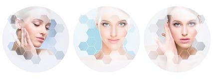 Mooi gezicht van jong en gezond meisje in collage Plastische chirurgie, huidzorg, schoonheidsmiddelen en gezicht het opheffen con royalty-vrije stock afbeelding