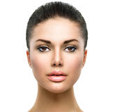 Mooi gezicht van jonge vrouw Stock Foto