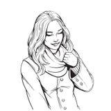 Mooi glimlachend meisje in sjaal volwassen kleurende pagina stock illustratie