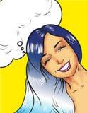 Mooi glimlachend Pop Art Woman op een gele achtergrond vector illustratie