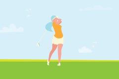 Mooi golfmeisje Vrouwelijke golfspeler De Toernooien van het sportspel stock illustratie
