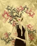 Mooi gouden meisje met krabbel abstract masker Royalty-vrije Stock Afbeeldingen