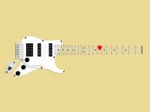 Mooi grafisch ontwerp van elektrische gitaar en oogst, rode gitaaroogst op fingerboard, ontwerpconcept van gitaar Stock Afbeeldingen