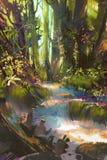 Mooi groen bos in de zomer stock illustratie