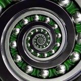 Mooi groen kooi-specifiek ongebruikelijk Industrieel Spiraalvormig Kogellager met de wijzers van de klok mee Dubbele spiraal die  Royalty-vrije Stock Foto's