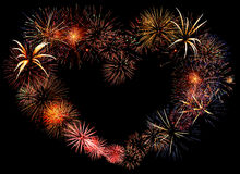 Mooi groot vuurwerkhart Stock Afbeeldingen
