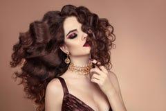 Mooi haar Gezond Kapsel Het donkerbruine Portret van het Meisje beaut Royalty-vrije Stock Foto's