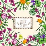 Mooi hand getrokken vectorillustratie bloemenpatroon stock illustratie