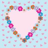 Mooi hart gestalte gegeven frame met bloemen Stock Afbeeldingen