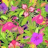Mooi Hawaiiaans behang met exotische bloemen, hibiscus en lelie, tropisch en palmbladen en flamingo's vector illustratie