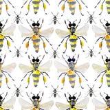 Mooi helder grafisch abstract leuk mooi artistiek uitstekend de zomer kleurrijk verticaal patroon van honingbijen en zwart mieren Stock Afbeeldingen
