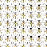 Mooi helder grafisch abstract leuk mooi artistiek uitstekend de zomer kleurrijk verticaal patroon van honingbijen en zwart mieren Stock Foto's